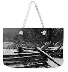 Snowy Fence Weekender Tote Bag by Michael Porchik