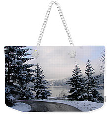 Weekender Tote Bag featuring the photograph Snowy Gorge by Athena Mckinzie