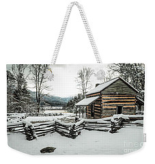 Weekender Tote Bag featuring the photograph Snowy Log Cabin by Debbie Green