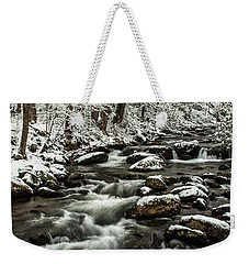 Weekender Tote Bag featuring the photograph Snowy Mountain Stream by Debbie Green