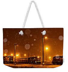 Snowy Night Weekender Tote Bag