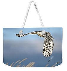 Snowy Owl Over The Dunes Weekender Tote Bag