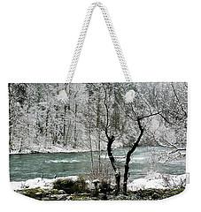 Weekender Tote Bag featuring the photograph Snowy River And Bank by Belinda Greb