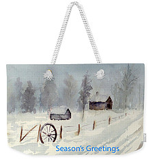 Snowy Road Weekender Tote Bag