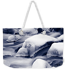Weekender Tote Bag featuring the photograph Snowy Rocks by Liz Leyden