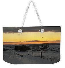 Snowy Pennsylvania Sunset Weekender Tote Bag