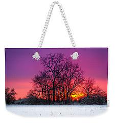 Snowy Sunset Weekender Tote Bag