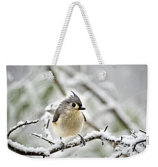 Snowy Tufted Titmouse Weekender Tote Bag