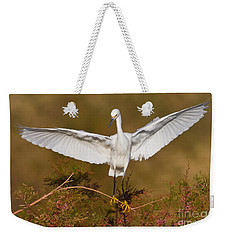 Weekender Tote Bag featuring the photograph Snowy Wingspread by Bryan Keil
