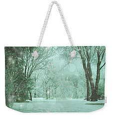 Snowy Winter Night Weekender Tote Bag by Mary Wolf