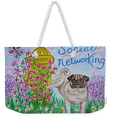 Social Networking Pug Weekender Tote Bag