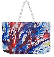 Soft Coral Splatter Weekender Tote Bag by Patricia Beebe