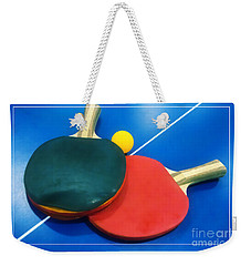 Soft Dreamy Ping-pong Bats Table Tennis Paddles Rackets On Blue Weekender Tote Bag