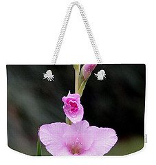 Soft Pink Glad Weekender Tote Bag by Kim Pate