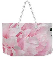 Weekender Tote Bag featuring the digital art Soft Pink Peony by Jeannie Rhode