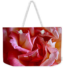 Weekender Tote Bag featuring the photograph Soft Pink Petals Of A Rose by Janice Rae Pariza