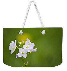 Soft White Cuckoo Flowers Weekender Tote Bag by Christina Rollo