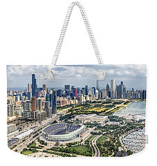 Soldier Field And Chicago Skyline Weekender Tote Bag by Adam Romanowicz