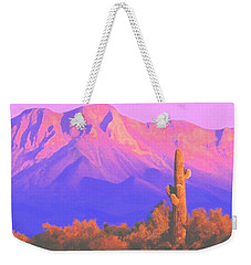 Weekender Tote Bag featuring the painting Solitary Silent Sentinel by Sophia Schmierer