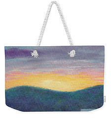 Weekender Tote Bag featuring the painting Blue Yellow Nocturne Solitary Landscape by Judith Cheng