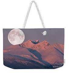 Solstice Sunrise Alpenglow Full Moon Setting Weekender Tote Bag by Stanza Widen
