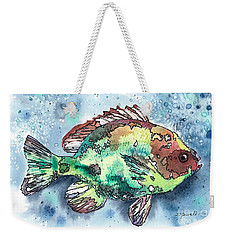 Weekender Tote Bag featuring the painting Something's Fishy Two by Barbara Jewell