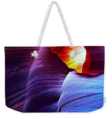 Weekender Tote Bag featuring the photograph Somewhere In America Series - Blue In Antelope Canyon by Lilia D