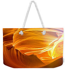 Weekender Tote Bag featuring the photograph Somewhere In America Series - Gold Colors In Antelope Canyon by Lilia D