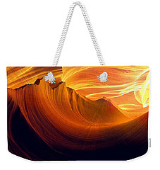Weekender Tote Bag featuring the photograph Somewhere In America Series - Golden Yellow Light In Antelope Canyon by Lilia D