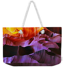 Weekender Tote Bag featuring the photograph Somewhere In America Series - Transition Of The Colors In Antelope Canyon by Lilia D