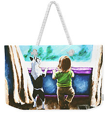 Waiting For Daddy Weekender Tote Bag by Jackie Carpenter