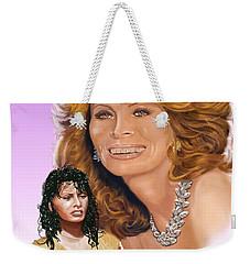 Weekender Tote Bag featuring the digital art Sophia Loren by Thomas J Herring