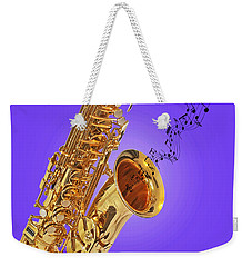 Sounds Of The Sax In Purple Weekender Tote Bag by Gill Billington