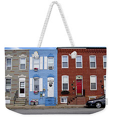 Weekender Tote Bag featuring the photograph South Baltimore Row Homes by Brian Wallace