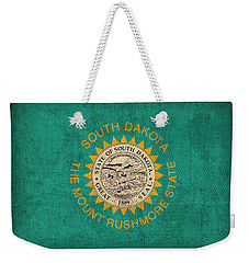 South Dakota State Flag Art On Worn Canvas Weekender Tote Bag by Design Turnpike