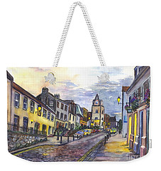 Weekender Tote Bag featuring the painting Nightfall At South Queensferry Edinburgh Scotland At Dusk by Carol Wisniewski