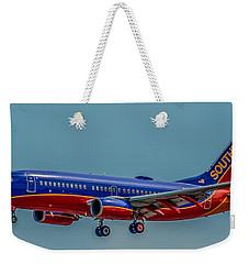 Southwest 737 Landing Weekender Tote Bag by Paul Freidlund