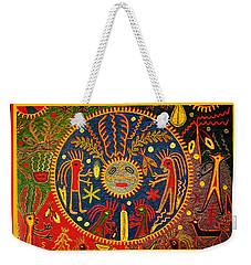 Weekender Tote Bag featuring the digital art Southwest Huichol Del Sol by Vagabond Folk Art - Virginia Vivier