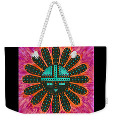 Weekender Tote Bag featuring the painting Southwest Sunburst Sunface by Susie Weber