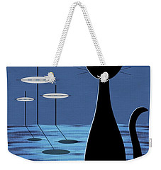 Space Cat In Blue Weekender Tote Bag by Donna Mibus