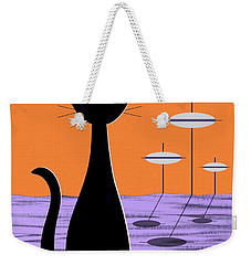 Space Cat Orange Sky Weekender Tote Bag