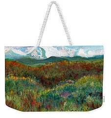 Weekender Tote Bag featuring the painting Spanish Peaks Evening by C Sitton
