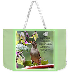 Sparrow Inspiration From The Book Of Luke Weekender Tote Bag