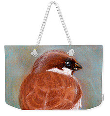 Weekender Tote Bag featuring the pastel Sparrow by Jasna Dragun
