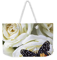 Speckled Butterfly On White Rose Weekender Tote Bag