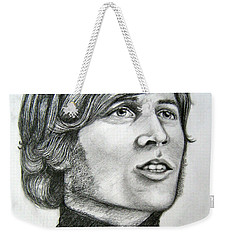 Weekender Tote Bag featuring the drawing  A Young Barry Gibb by Patrice Torrillo