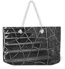 Weekender Tote Bag featuring the photograph Spider And Web Iron Gate Art Prints by Valerie Garner