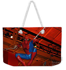 Spiderman Swinging Through The Air Weekender Tote Bag