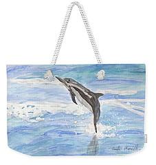 Spinner Dolphin Weekender Tote Bag by Pamela  Meredith