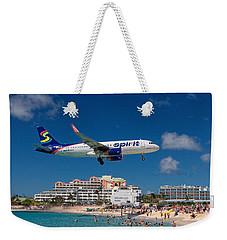 Spirit Airlines Low Approach To St. Maarten Weekender Tote Bag